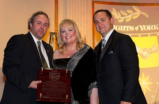 (L- R) Dinner Chairman, Declan Connelly, Dr. Kathy Reilly Fallon, and Thomas J. Petersen, President of the Knights of York